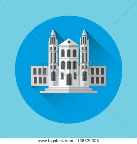 University Building Residence Icon Flat Vector Illustration