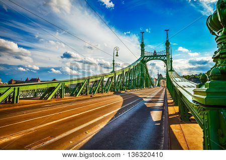 Road at freedom bridge on danube river in budapest city hungary