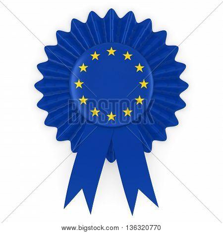 European Union Flag Badge Rosette 3D Illustration