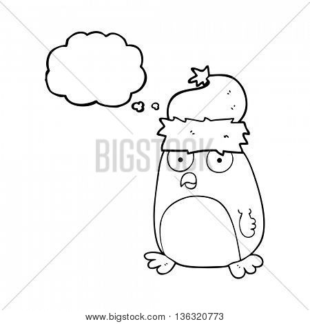 freehand drawn thought bubble cartoon christmas robin