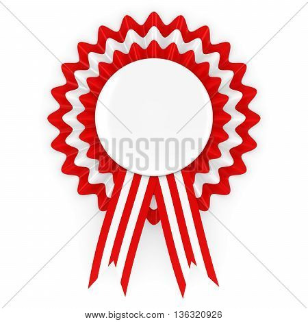 Red and White Rosette with Blank White Badge 3D Illustration