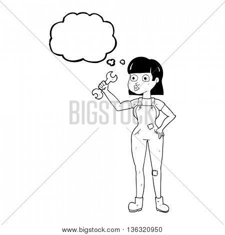 freehand drawn thought bubble cartoon mechanic woman