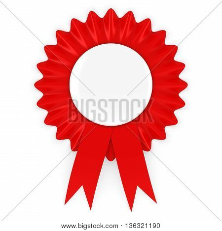 Red Rosette with Blank White Badge 3D Illustration