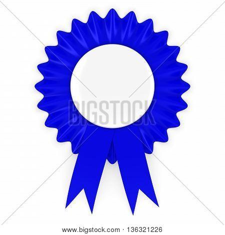 Blue Rosette with Blank White Badge 3D Illustration