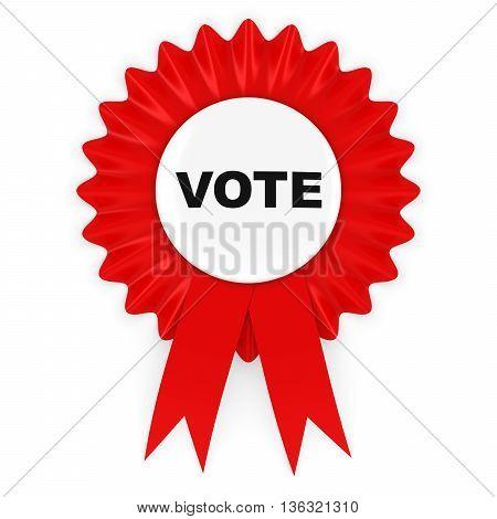 Red Vote Rosette Badge 3D Illustration Isolated on White