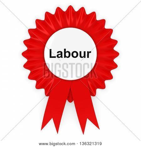 Labour Party Red Rosette Badge 3D Illustration