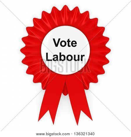 Vote Labour UK Elections Rosette Badge 3D Illustration