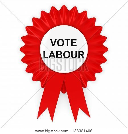 Vote Labour Red Rosette 3D Illustration Isolated on White
