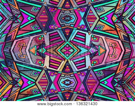 Abstract Background Tribal Geometric Ornament Bright