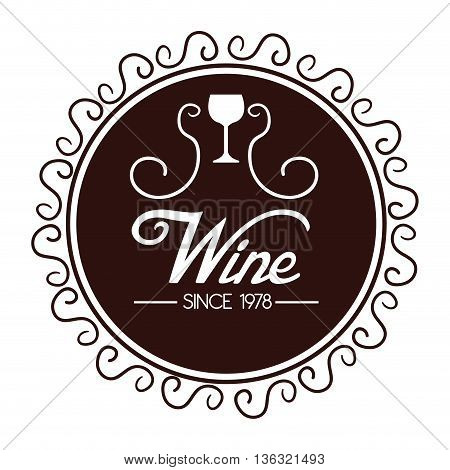 seal of quality wine isolated icon design, vector illustration  graphic
