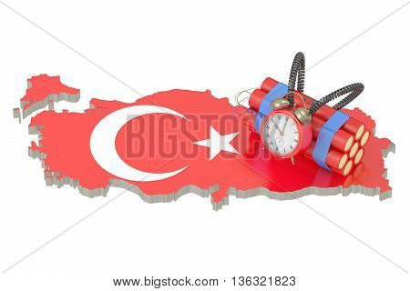 Turkey terror attacks concept 3D rendering on white background
