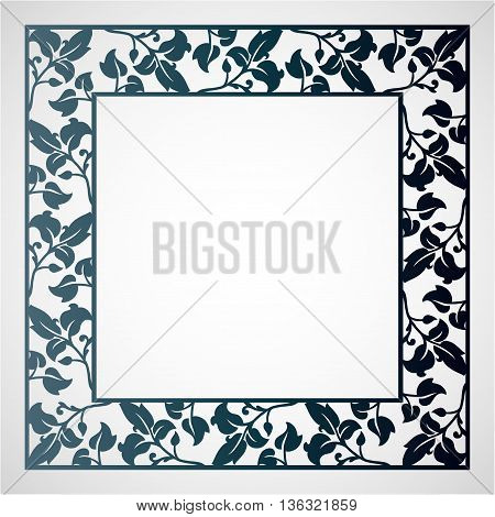 Openwork square frame with leaves. Laser cutting template for greeting cards envelopes wedding invitations.
