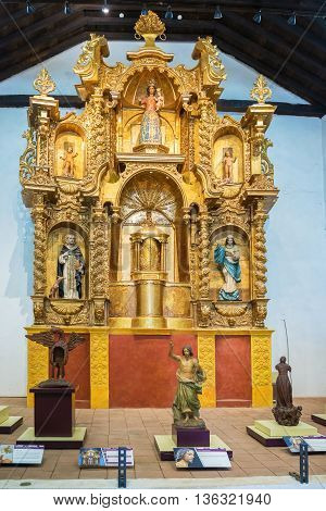 Santo Domingo convent liturgical museum. In this Museum the old chapel of the Dominican Church was restored with paintings liturgical ornaments and sculptures from the colonial period.