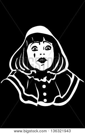 Vector Sketch White Mime With Big Eyes.