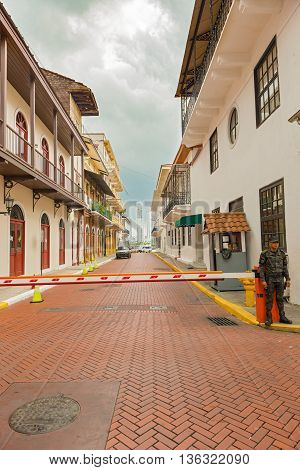 Panama City Panama - May 15 2016: Guarded street leading to the Presidential Palace in old part of Panama City called Casco Antiguo or Casco Viejo.