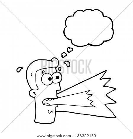 freehand drawn thought bubble cartoon shouting man