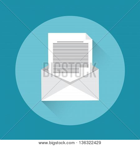 Envelope Open Mail Icon Flat Vector Illustration