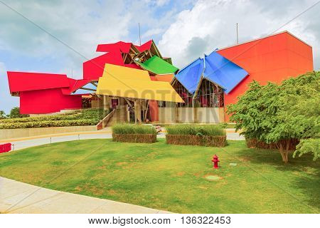 Panama City Panama - May 15 2015: Biomuseo in Panama City. Whimsical museum structure by the renowned Frank Gehry with 8 galleries on Panama biodiversity.