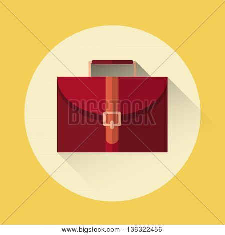 Briefcase Business Logo Icon Flat Vector Illustration