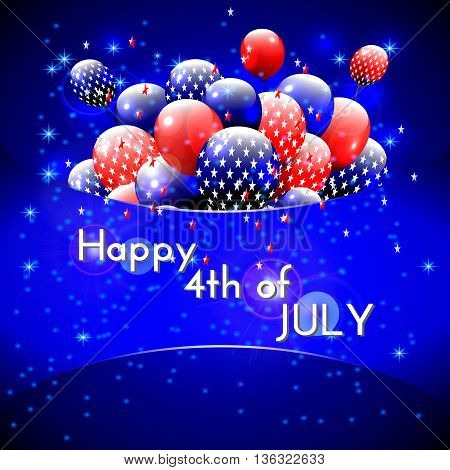 Happy 4th of July design. Blue background, balloons with stars, striped text. American independence day greetings. For invitation, party, bbq. vector.