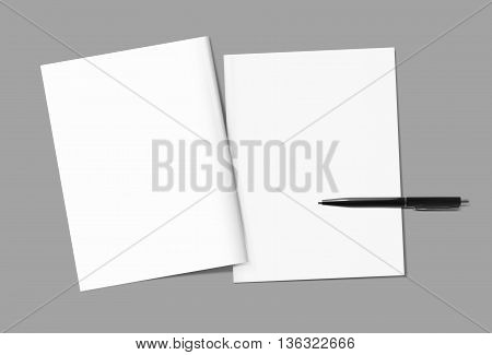 Blank magazine covers and pen template on gray background. Back and front. Responsive design template. Blank mock-up for your design. Isolated with clipping path. Top view.