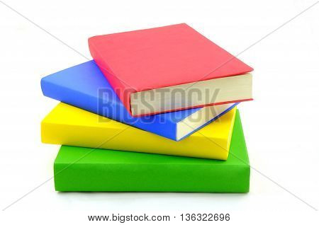 Isolated stack of colorful book on the white background
