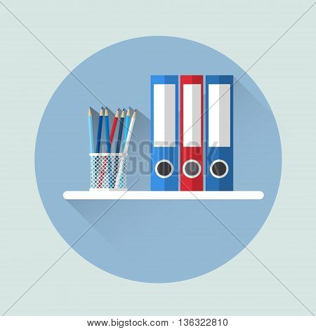 Office Shelf With Document Folder Icon Flat Vector Illustration