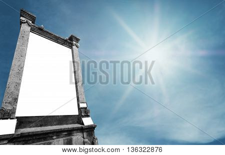 Stone vertical billboard, with copy space on blue sky