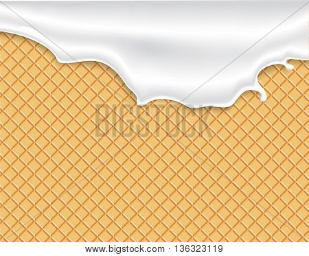 Flowing white glaze on wafer texture sweet food vector background abstract. Melt icing ice cream on waffle seamless pattern. Editable - Easy change colors.