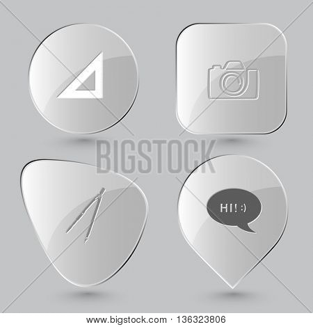 4 images: triangle ruler, camera, caliper, chat symbol. Education set. Glass buttons on gray background. Vector icons.