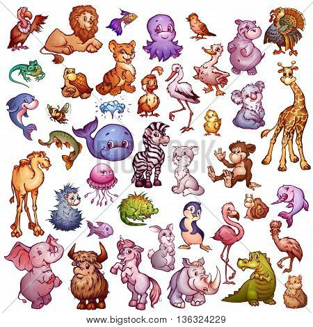 Vector set of cute animals for pets alphabet. Lion, rhino, giraffe and etc.