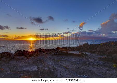 Island Maui Tropical Cliff Coast Line With Ocean.