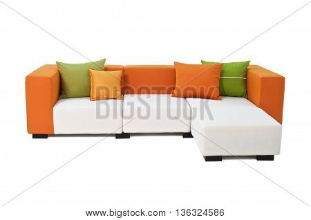 Outdoor indoor sofa with water resistant orange and green pillows