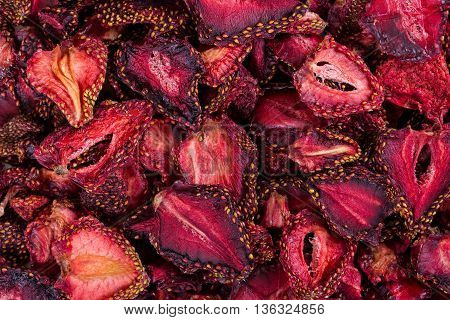 Background Of Dried Strawberries.