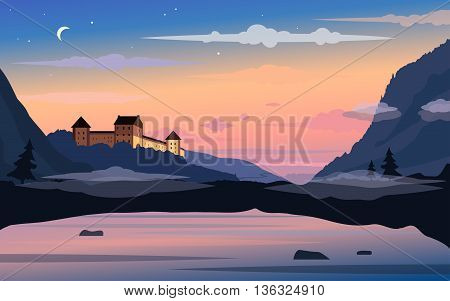 Old castle on a sunset background. Landscape with hills and a lake in a fog. Vector background with separated layers for game. Template of banner, backdrop, poster in cartoon style. Screensaver design