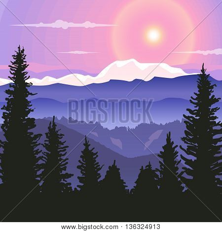 Sunrise in the mountains. Landscape with mountains, sun and trees in gradient colours. Template for banner, backdrop, poster or splash screen in cartoon style.  Background for game.