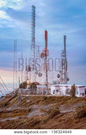 Central America, Panama, Chiriqui Province, Telecom Towers On Summit Of Volcano Baru