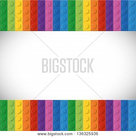 Lego concept represented by abstract with blank space between. Colorfull and flat illustration