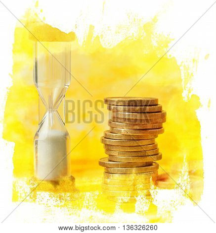 'Time is money' concept: a digital collage of a photo of an hourglass with a pile of coins against a blurred yellow background with copyspace in a golden textured hand painted frame