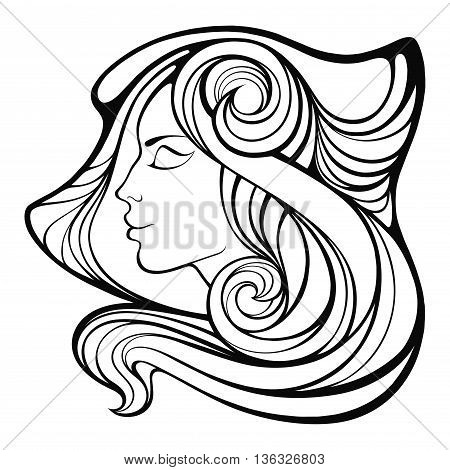 Vector Decorative Portrait Of Shaman Girl With  Long Hair Isolated On White Background.