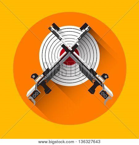 Shooting Gun Target Equipment Sport Icon Flat Vector Illustration