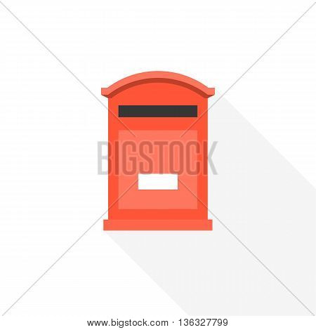 post box icon, flat design vector with long shadow on white background