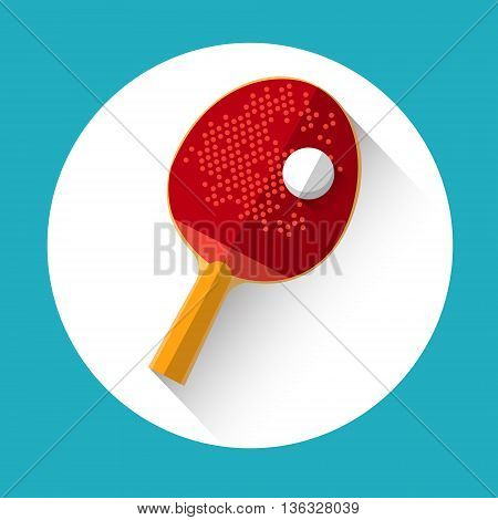 Table Tennis Racket Ball Equipment Sport Icon Flat Vector Illustration