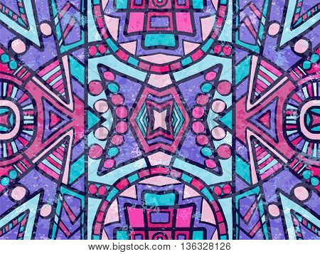 Ethnic Abstract Background Tribal Ornament Purple