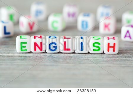 The Foto of word english surrounding other letters
