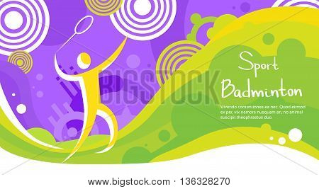 Badminton Player Athlete Sport Game Competition Flat Vector Illustration