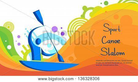 Canoe Slalom Athlete Sport Game Competition Flat Vector Illustration