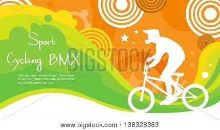 BMX Cycling Athlete Sport Competition Colorful Banner Flat Vector Illustration