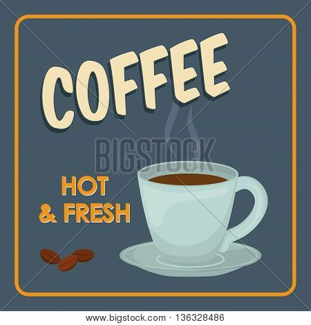 Coffee time oncept represented by coffee mug icon. Property of colorfull and frame illustration