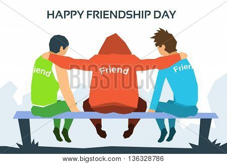 Happy Friendship Day Friends Together Sit On Bench In Park Flat Vector Illustration